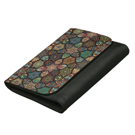 Vintage patchwork with floral mandala elements leather wallet