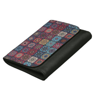 Vintage patchwork with floral mandala elements leather wallet for women