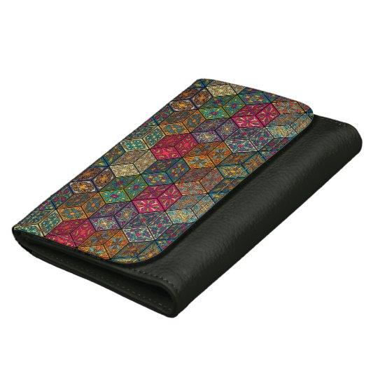 Vintage patchwork with floral mandala elements leather wallets