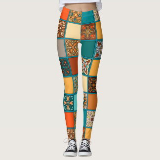 Vintage patchwork with floral mandala elements leggings