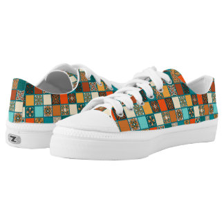 Vintage patchwork with floral mandala elements low tops