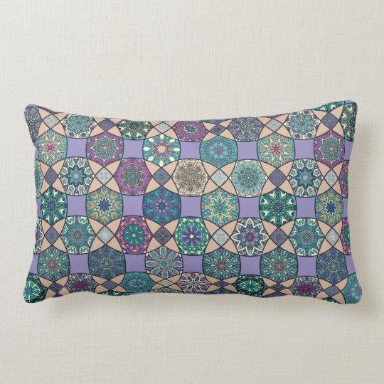 Vintage patchwork with floral mandala elements lumbar cushion