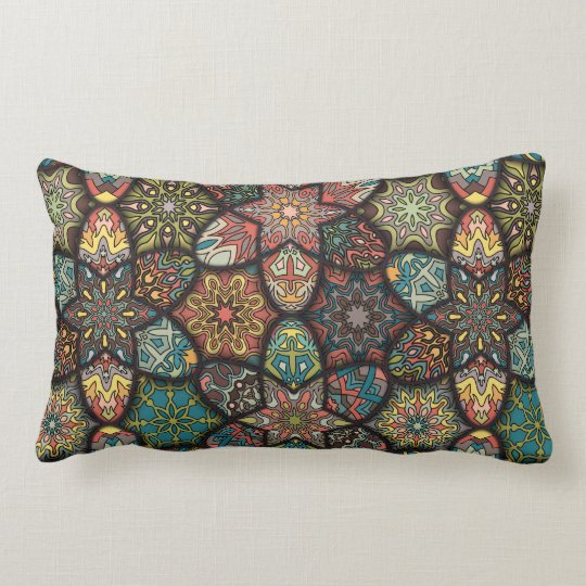 Vintage patchwork with floral mandala elements lumbar cushion