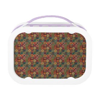 Vintage patchwork with floral mandala elements lunch box