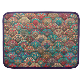 Vintage patchwork with floral mandala elements MacBook pro sleeve