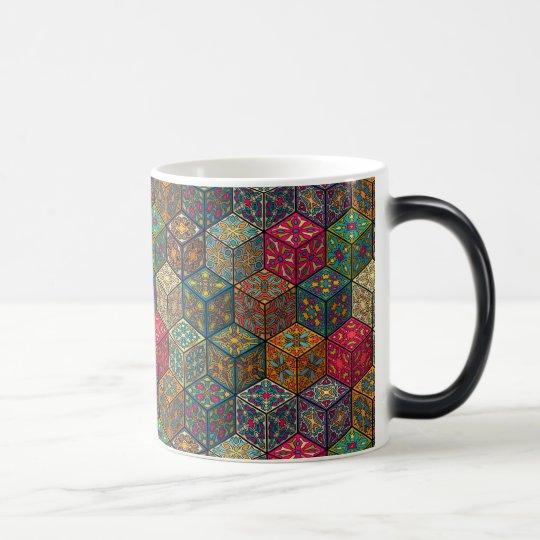 Vintage patchwork with floral mandala elements magic mug