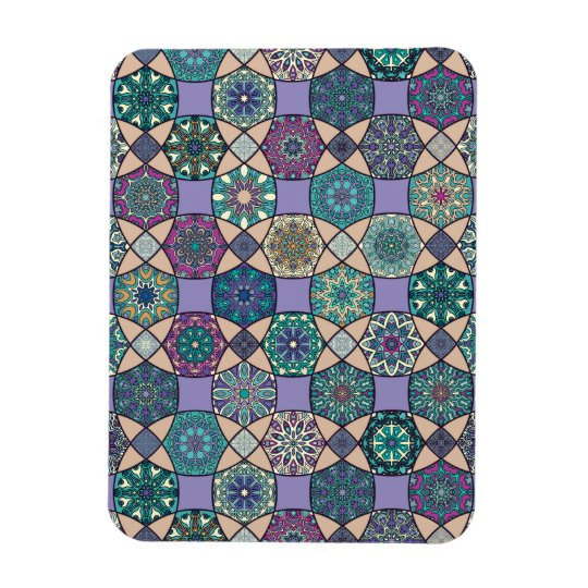 Vintage patchwork with floral mandala elements magnet
