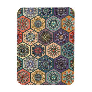 Vintage patchwork with floral mandala elements magnet