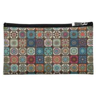 Vintage patchwork with floral mandala elements makeup bag