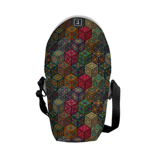Vintage patchwork with floral mandala elements messenger bag