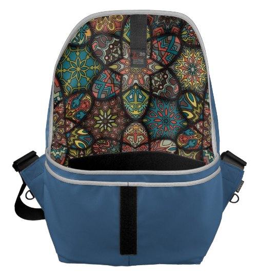 Vintage patchwork with floral mandala elements messenger bag