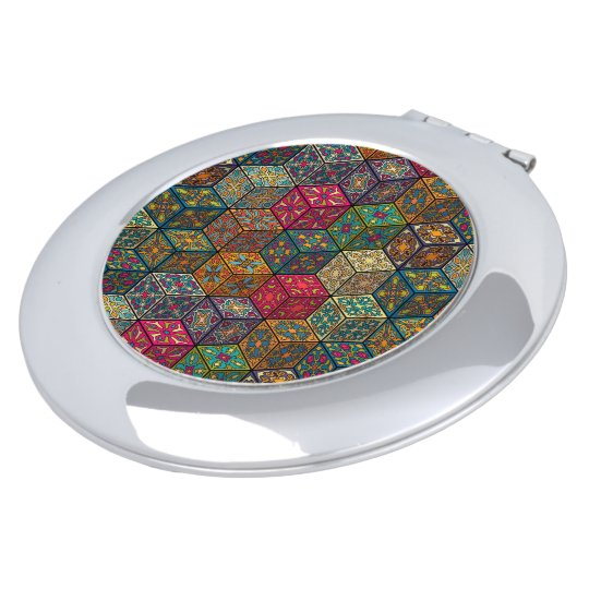 Vintage patchwork with floral mandala elements mirror for makeup