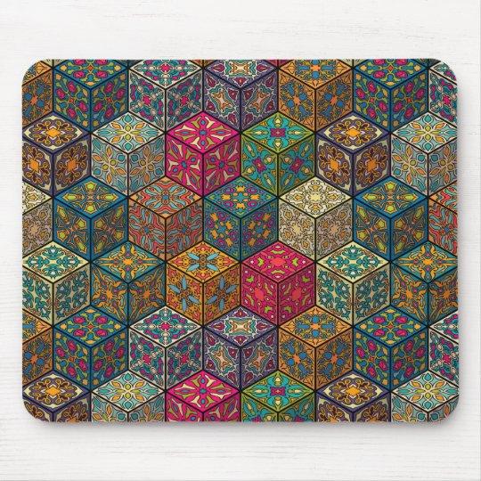 Vintage patchwork with floral mandala elements mouse pad
