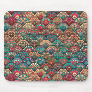 Vintage patchwork with floral mandala elements mouse pad