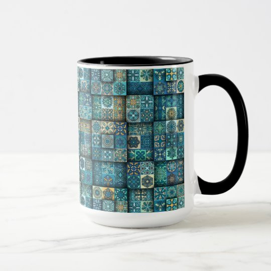 Vintage patchwork with floral mandala elements mug
