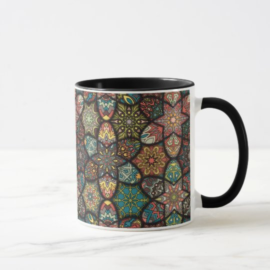 Vintage patchwork with floral mandala elements mug