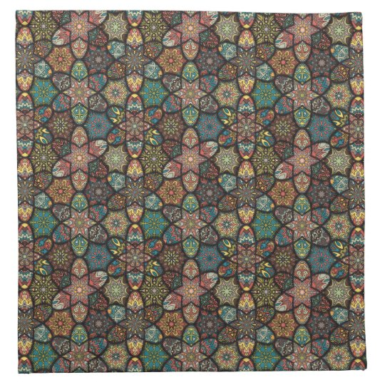 Vintage patchwork with floral mandala elements napkin
