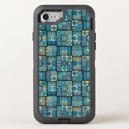 Vintage patchwork with floral mandala elements OtterBox defender iPhone 8/7 case