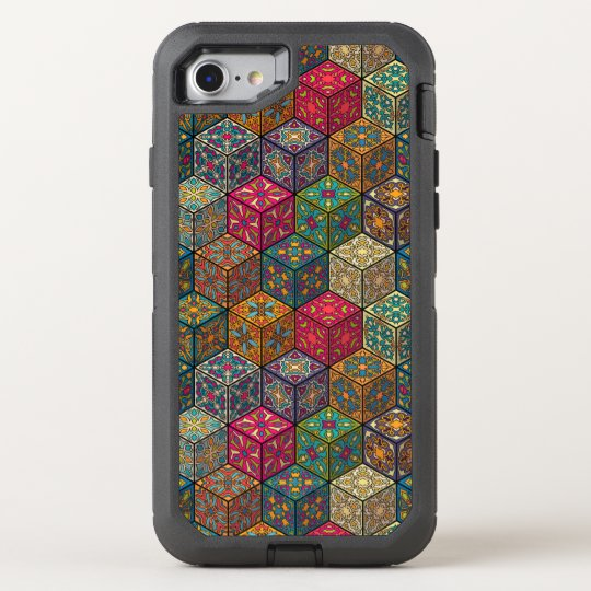 Vintage patchwork with floral mandala elements OtterBox defender iPhone 8/7 case