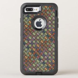 Vintage patchwork with floral mandala elements OtterBox defender iPhone 8 plus/7 plus case