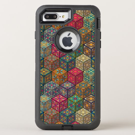 Vintage patchwork with floral mandala elements OtterBox defender iPhone 8 plus/7 plus case