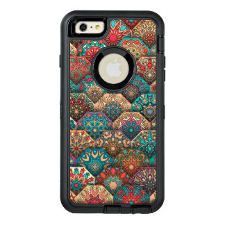 Vintage patchwork with floral mandala elements OtterBox defender iPhone case