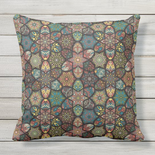 Vintage patchwork with floral mandala elements outdoor cushion