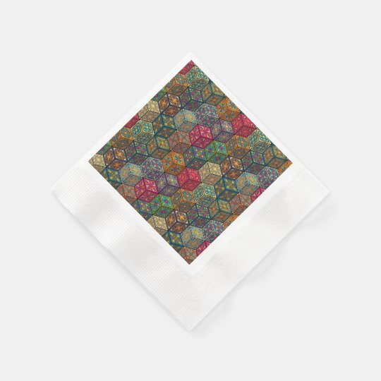 Vintage patchwork with floral mandala elements paper napkin
