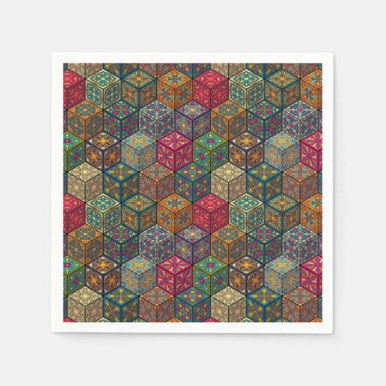 Vintage patchwork with floral mandala elements paper napkins