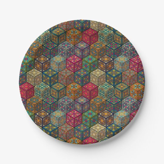 Vintage patchwork with floral mandala elements paper plate