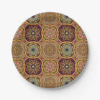 Vintage patchwork with floral mandala elements paper plate