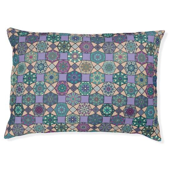 Vintage patchwork with floral mandala elements pet bed