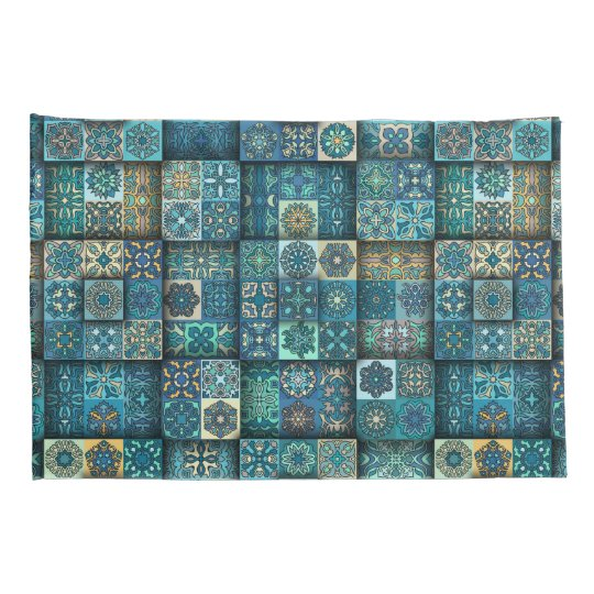 Vintage patchwork with floral mandala elements pillowcase