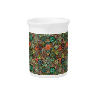 Vintage patchwork with floral mandala elements pitcher