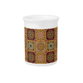 Vintage patchwork with floral mandala elements pitcher