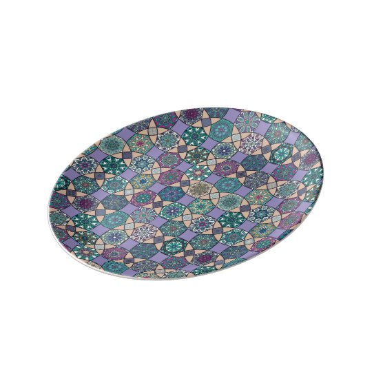 Vintage patchwork with floral mandala elements plate