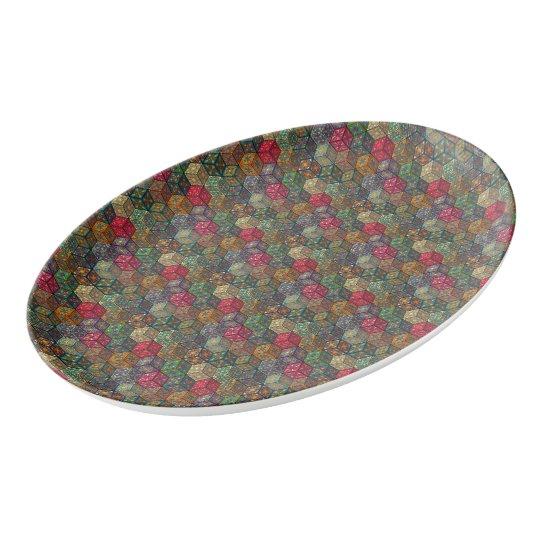 Vintage patchwork with floral mandala elements porcelain serving platter