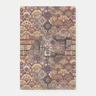 Vintage patchwork with floral mandala elements post-it® notes