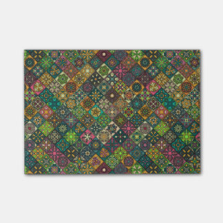 Vintage patchwork with floral mandala elements post-it® notes