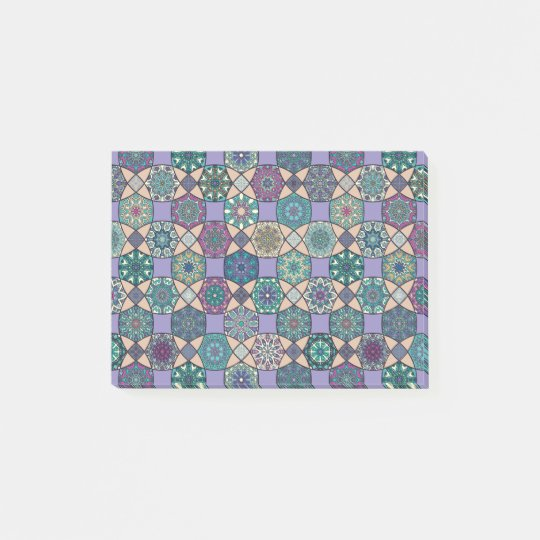 Vintage patchwork with floral mandala elements post-it notes