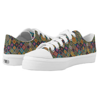 Vintage patchwork with floral mandala elements printed shoes