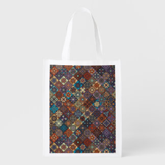 Vintage patchwork with floral mandala elements reusable grocery bag