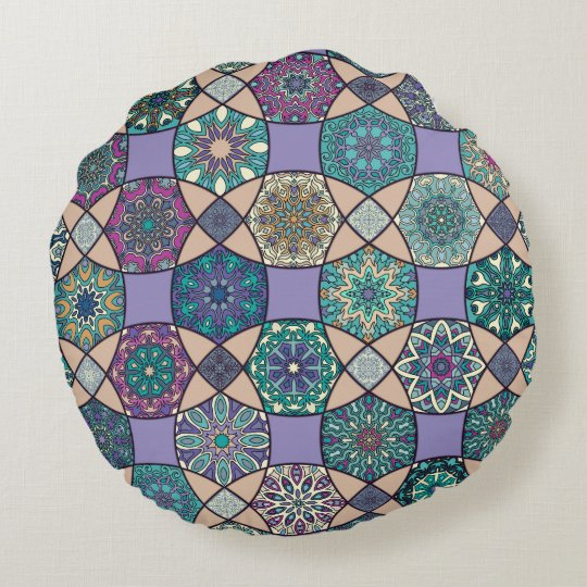 Vintage patchwork with floral mandala elements round cushion