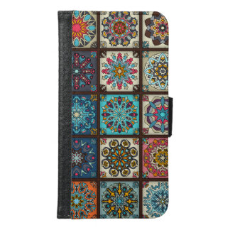 Vintage patchwork with floral mandala elements samsung galaxy s6 wallet case