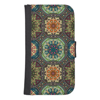 Vintage patchwork with floral mandala elements samsung s4 wallet case