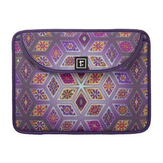 Vintage patchwork with floral mandala elements sleeve for MacBook pro
