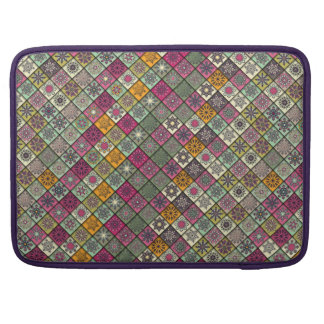 Vintage patchwork with floral mandala elements sleeve for MacBook pro
