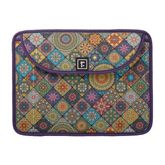 Vintage patchwork with floral mandala elements sleeve for MacBooks
