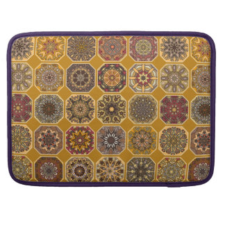 Vintage patchwork with floral mandala elements sleeve for MacBooks