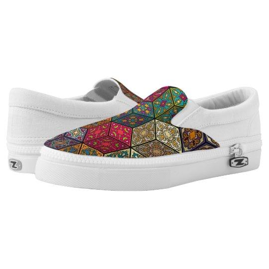 Vintage patchwork with floral mandala elements Slip-On shoes